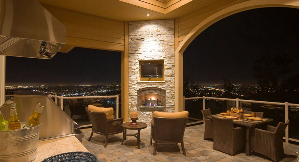 exterior Remodeling Contractor for custom fireplaces and outdoor kitchens in phoenix az overlooking the city